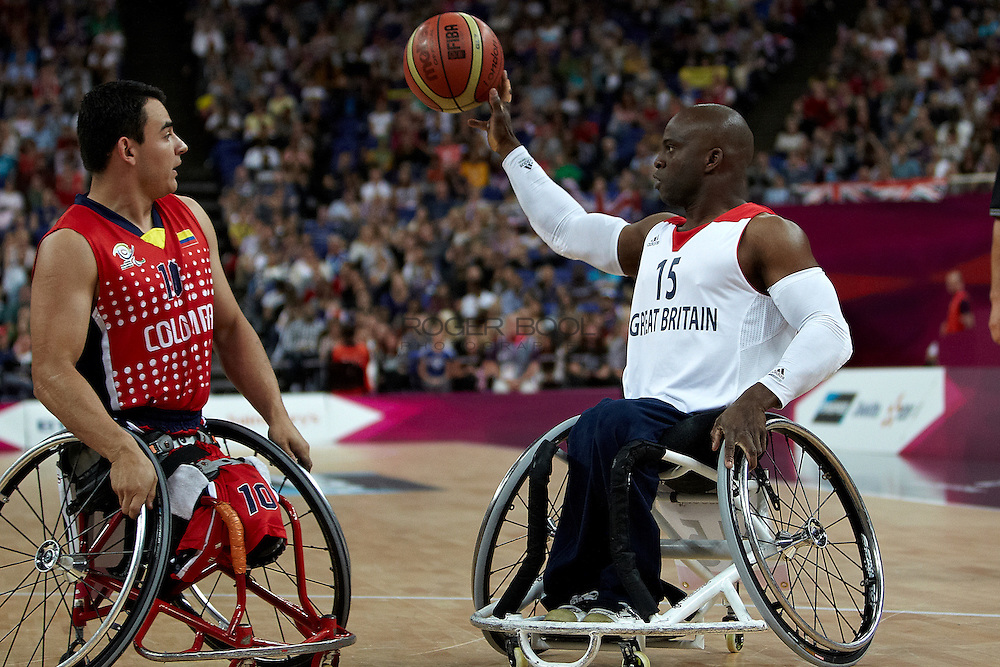 Ade Orogbemi of Great Britain in the Men's Wheelchair Basketball against Colombia at the North Greenwich Arena on day 3 of the London 2012 Paralympic Games. 1st September 2012.