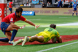 March 9, 2019 - Vancouver, BC, U.S. - VANCOUVER, BC - MARCH 10: Simon Kennewell #2 of Australia scores during Game #3- Australia 7s vs Spain 7s in Pool C match-up at the Canada Sevens held March 9-10, 2019 at BC Place Stadium in Vancouver, BC, Canada.(Photo by Allan Hamilton/Icon Sportswire) (Credit Image: © Allan Hamilton/Icon SMI via ZUMA Press)