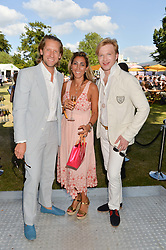 Left to right, JAKE PARKINSON-SMITH, SAMIRA PARKINSON-SMITH and HENRY CONWAY at the Summer Solstice Party during the Boodles Tennis event hosted by Beulah London and Taylor Morris at Stoke Park, Park Road, Stoke Poges, Buckinghamshire on 21st June 2014.