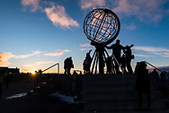 The Sun low in the southwest just past high noon and about to set on November 5, 2017, from a latitude of 71&deg; North at North Cape, Norway, (Nordkapp), at the northernmost point on the European continent. This was two weeks before the start of the &ldquo;polar night&rdquo; when the Sun would not rise at all for about two months, providing at best a deep twilight during the day. <br /> <br /> This is from the globe monument that marks Nordkapp and serves as a popular tourist attraction.