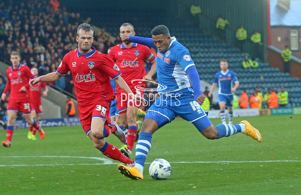 Nathaniel Mendez-Laing & Danny Lafferty during the Sky Bet League 1 match between Rochdale and Oldham Athletic at Spotland, Rochdale, England on 24 October 2015. Photo by Daniel Youngs.