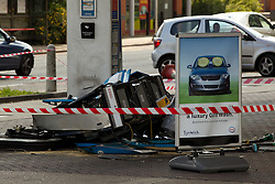 © licensed to London News Pictures. London, UK 02/07/2011. A car  crashed in to a petrol station, destroying a pump, overnight (Friday/Saturday). No one was seriously hurt but the normally busy station on Archway Road in London has had to remain closed as it isn't safe to operate pumps. The car is yet to be recovered. Please see special instructions for usage rates. Photo credit should read Joel Goodman/LNP