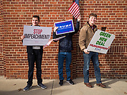 """09 NOVEMBER 2019 - DES MOINES, IOWA: Supporters of US President Donald Trump picket a climate change town hall sponsored by Senator Bernie Sanders. About 20 Trump supporters protested the event.Sanders and Rep. Congresswoman Alexandria Ocasio-Cortez (D-NY), hosted the """"Climate Crisis Summit"""" at Drake University in Des Moines. More than 2,000 people attended the event. Sanders, an independent, is running to be the Democratic nominee for the 2020 US Presidential election. Iowa holds the first in the country selection contest with state caucuses on Feb. 3, 2020.              PHOTO BY JACK KURTZ"""