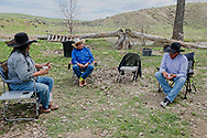 Brothers, Henry, Richard, Jim Real Bird, at Henry Real Bird daughter Lucy graduation celebration, Medicine Tail Coulee, Crow Indian Reservation, Montana
