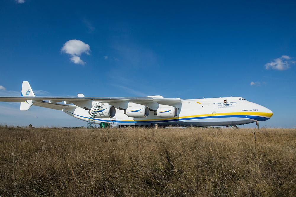 GOSTOMEL, UKRAINE - OCTOBER 1, 2014: The Antonov AN-225, the longest and heaviest airplane ever built, on an airfield in Gostomel, outside Kiev, Ukraine. CREDIT: Brendan Hoffman for The New York Times