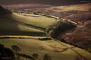 North Yorkshire Moors - The Hole of Horcum, a fabulous woven landscape of hills, valleys, fields and heathers before the gradual slope down to the Yorkshire coast and the North Sea