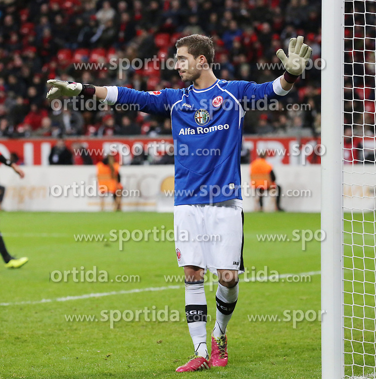15.12.2013, BayArena, Leverkusen, GER, 1. FBL, Bayer 04 Leverkusen vs Eintracht Frankfurt, 16. Runde, im Bild Torwart Kevin Trapp #1 (Eintracht Frankfurt) // during the German Bundesliga 16th round match between Bayer 04 Leverkusen and Eintracht Frankfurt at the BayArena in Leverkusen, Germany on 2013/12/15. EXPA Pictures &copy; 2013, PhotoCredit: EXPA/ Eibner-Pressefoto/ Schueler<br /> <br /> *****ATTENTION - OUT of GER*****