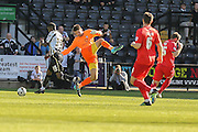 York City goalkeeper Scott Flinders misses the ball allowing Notts County forward Izale McLeod to score  during the Sky Bet League 2 match between Notts County and York City at Meadow Lane, Nottingham, England on 26 September 2015. Photo by Simon Davies.