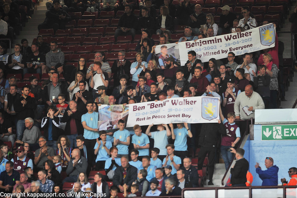FRIENDS AND FAMILY WITH BANNERS DURING 2 MINUTE APPLAUSE FOR THRAPSTON BEN WALKER, Aston Villa v Brighton &amp; Hove Albion Sky Bet Championship Villa Park, Brighton Promoted to Premiership Sunday 7th May 2017 Score 1-1 <br /> Photo:Mike Capps