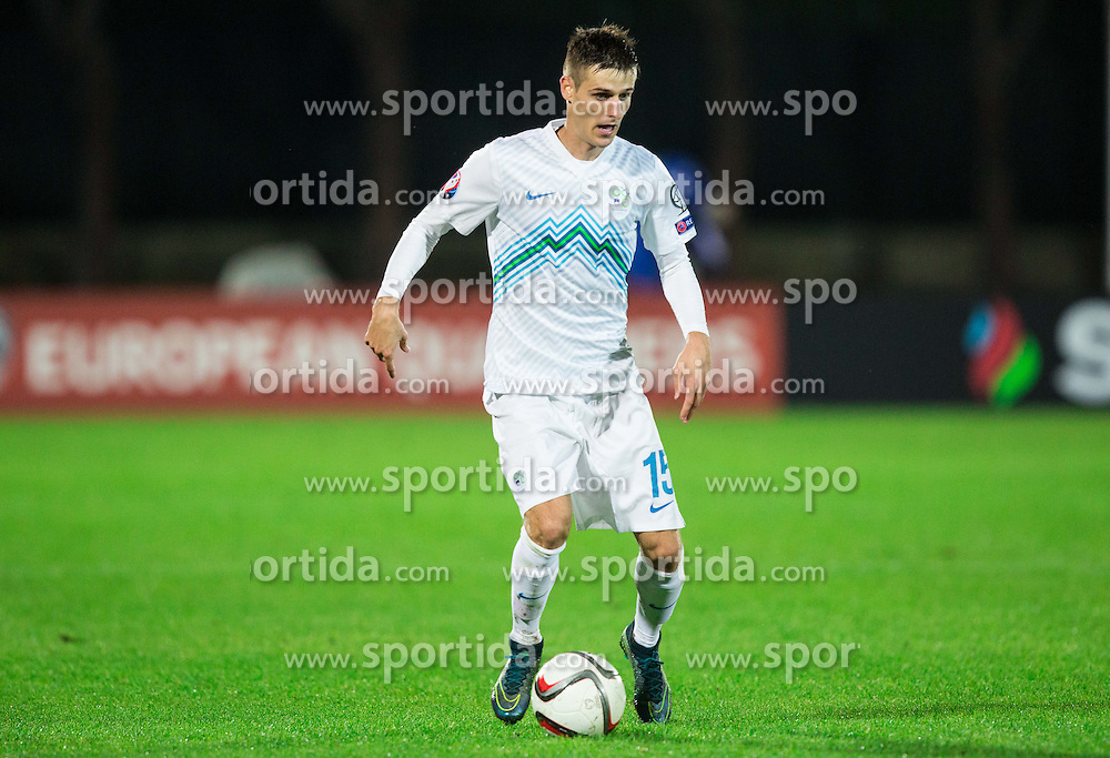Andraz Struna of Slovenia during football match between National teams of San Marino and Slovenia in Group E of EURO 2016 Qualifications, on October 12, 2015 in Stadio Olimpico Serravalle, Republic of San Marino. Photo by Vid Ponikvar / Sportida