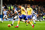 Leeds United midfielder Jack Harrison (22), on loan from Manchester City,  in action  during the EFL Sky Bet Championship match between Queens Park Rangers and Leeds United at the Loftus Road Stadium, London, England on 26 February 2019.