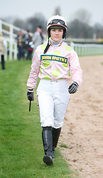 LIVERPOOL, ENGLAND - Friday, April 9, 2010: Jockey Katie Walsh walks back after being unseated by her horse Pomme Tiepy during the second day of the Grand National Festival at Aintree Racecourse. (Pic by David Rawcliffe/Propaganda)
