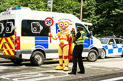 Pictured: The Reducer and PC Sacha Ponniah on duty. <br /> Councillor Lesley Hinds, transport convener for Edinburgh City Council, joined The Reducer at the launch of the new speed limit, which sees a maximum speed of 20mph in the city centre and rural west of the city from July 31<br /> <br /> Ger Harley | EEm 27 July 2016