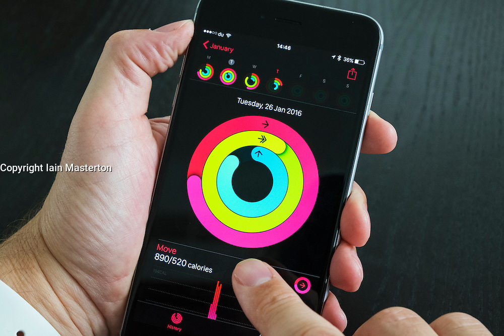 Health app measuring daily activity on iPhone 6 Plus smart phone