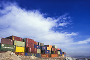 Containers stacked at the Port of Barcelona, Catalonia, Spain