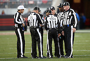 The officials discuss a call during the San Francisco 49ers 2015 week 12 regular season NFL football game against the Arizona Cardinals on Sunday, Nov. 29, 2015 in Santa Clara, Calif. The Cardinals won the game 19-13. (©Paul Anthony Spinelli)