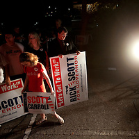 TAMPA, FL -- October 25, 2010 -- Supporters wait for Republican candidate for governor Rick Scott greet at a post-debate rally in Tampa, Fla., on Monday, September 25, 2010.  Scott was kicking off his final week of campaigning in the heated race for Florida Governor against Democrat Alex Sink.