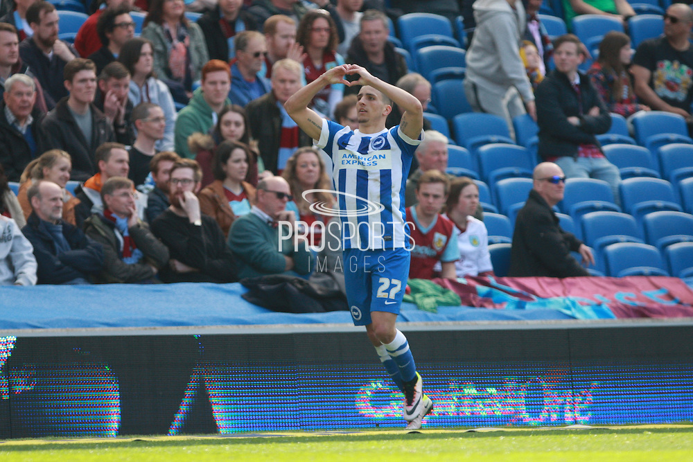 Brighton striker Anthony Knockaert celebrates after making it 2-1 during the Sky Bet Championship match between Brighton and Hove Albion and Burnley at the American Express Community Stadium, Brighton and Hove, England on 2 April 2016. Photo by Bennett Dean.