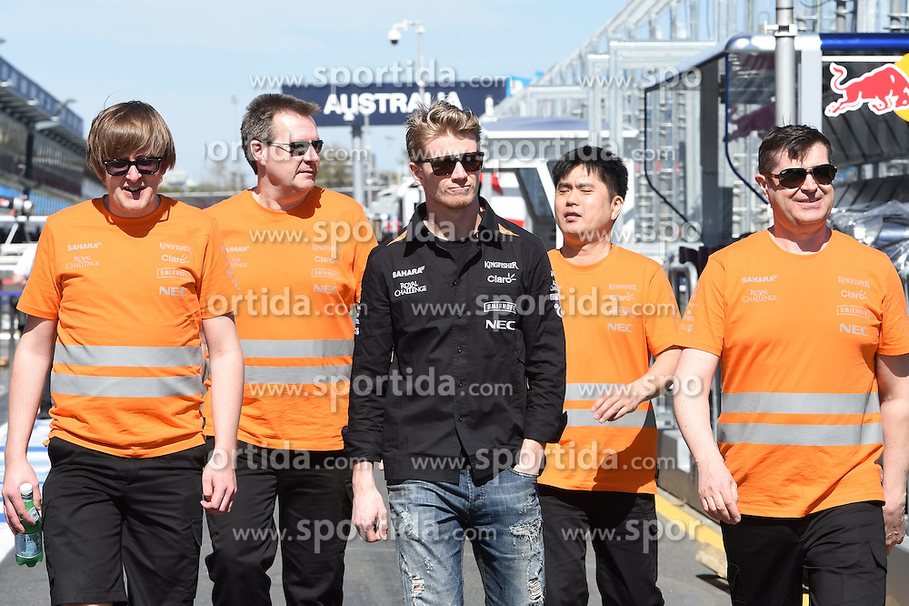 11.03.2015, Albert Park Circuit, Melbourne, AUS, FIA, Formel 1, Grand Prix von Australien, Vorberichte, im Bild Nico Hulkenberg (GER) Force India F1 walks the track with Bradley Joyce (GBR) Force India F1 Race Engineer // during Preparations for the FIA Formula One Grand Prix of Australia at the Albert Park Circuit in Melbourne, Australia on 2015/03/11. EXPA Pictures &copy; 2015, PhotoCredit: EXPA/ Sutton Images/ Mark Images<br /> <br /> *****ATTENTION - for AUT, SLO, CRO, SRB, BIH, MAZ only*****