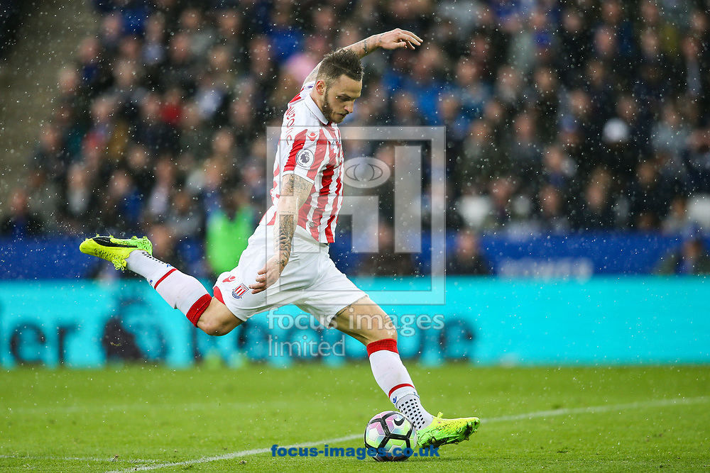 Marko Arnautovic of Stoke City shoots at goal during the Premier League match at the King Power Stadium, Leicester<br /> Picture by Andy Kearns/Focus Images Ltd 0781 864 4264<br /> 01/04/2017