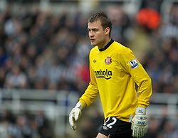 NEWCASTLE, ENGLAND - Sunday, March 4, 2012: Sunderland's goalkeeper Simon Mignolet in action against Newcastle United during the Premiership match at St. James' Park. (Pic by David Rawcliffe/Propaganda)