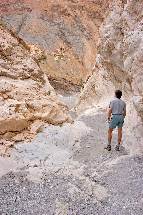 Hiker in Mosaic Canyon, Death Valley National Park, California