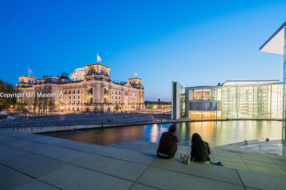 Evening view of the Reichstag Parliament and Paul Lobe Haus buildings in government distinct of Berlin Germany