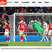 Middlesbrough's Brad Guzan saves a goal bound free kick during the Premier League match between Middlesbrough and Sunderland on Wednesday 26th April 2017 at The Riverside Stadium, Middlesbrough