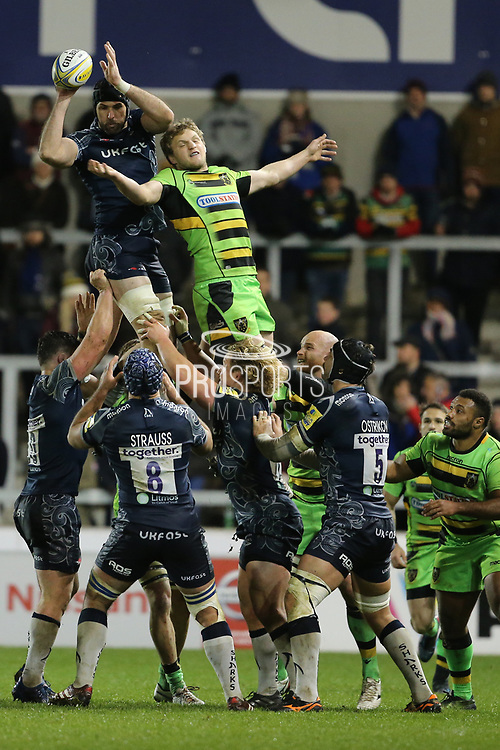 Bryn Evans during the Aviva Premiership match between Sale Sharks and Northampton Saints at the AJ Bell Stadium, Eccles, United Kingdom on 25 November 2017. Photo by George Franks.