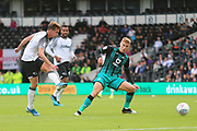 Derby County midfielder Kieran Dowell (8) shoots at goal during the EFL Sky Bet Championship match between Derby County and Swansea City at the Pride Park, Derby, England on 10 August 2019.