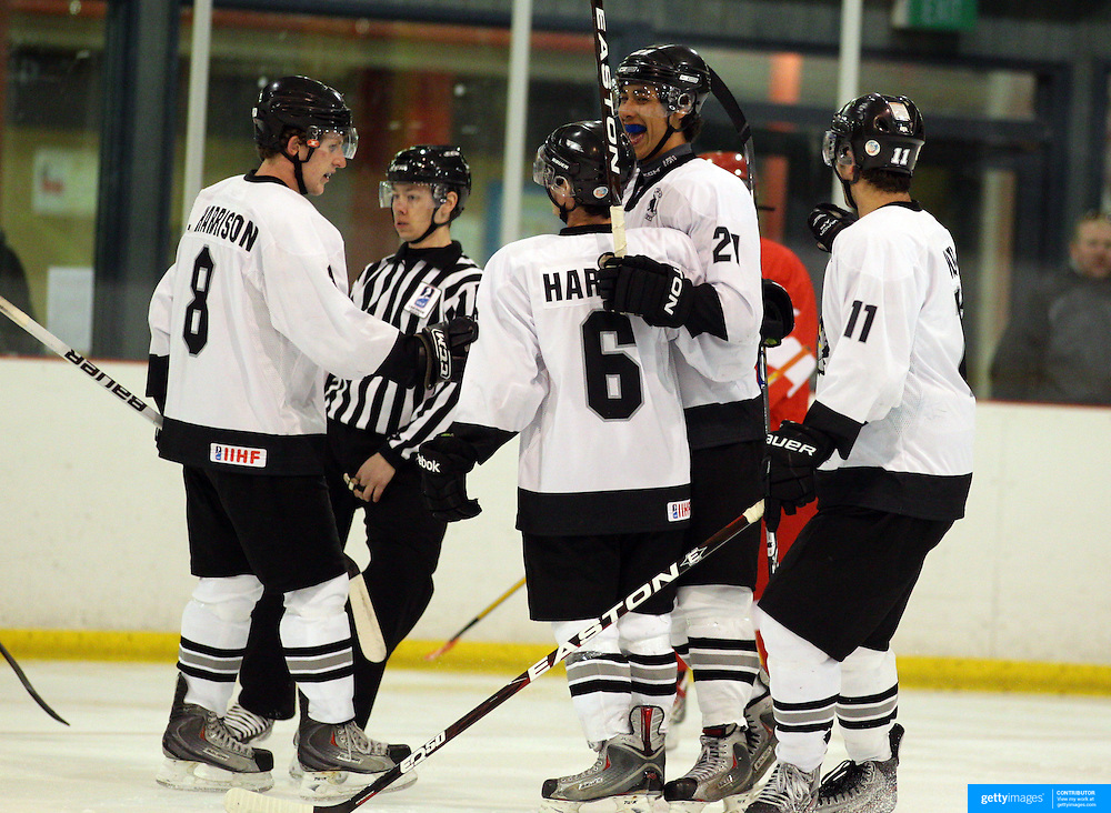 New Zealand celebrate a goal from Remy Sandoy (21) during the New Zealand V Turkey match during the 2012 IIHF Ice Hockey World Championships Division 3 held at Dunedin Ice Stadium. Dunedin, Otago, New Zealand. 22nd January 2012. Photo Tim Clayton