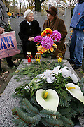 Kazimierz, Poland cemetery on All Saints Day. Bory's mother visits with a relative.