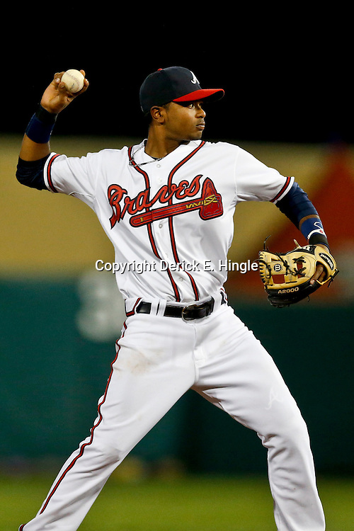 Mar 7, 2013; Lake Buena Vista, FL, USA; Atlanta Braves shortstop Elmer Reyes (75) against the Detroit Tigers during a spring training game at Champion Stadium. Mandatory Credit: Derick E. Hingle-USA TODAY Sports