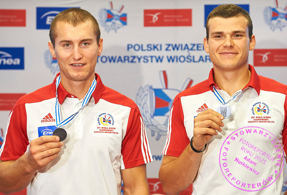 Warsaw, Poland - 2017 October 03: (R) Mateusz Biskup (AZS AWFiS Gdansk) and (L) Miroslaw Zietarski (AZS UMK Energa Torun) pose to the picture during press conference of Polish Rowing National Team at Chopin Airport on October 03, 2017 in Warsaw, Poland.<br /> <br /> Mandatory credit:<br /> Photo by &copy; Adam Nurkiewicz / Mediasport<br /> <br /> Adam Nurkiewicz declares that he has no rights to the image of people at the photographs of his authorship.<br /> <br /> Picture also available in RAW (NEF) or TIFF format on special request.<br /> <br /> Any editorial, commercial or promotional use requires written permission from the author of image.