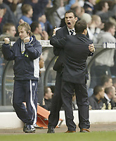 Photo: Aidan Ellis.<br /> Leeds United v Luton Town. Coca Cola Championship. 10/03/2007.<br /> Leeds assistan Gus Poyet celebrates with manager Dennis Wise the first goal