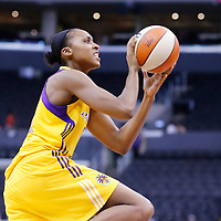 25 May 2014: Los Angeles Sparks forward/center Sandrine Gruda (7) takes a jumpshot during the Los Angeles Sparks 83-62 victory over the San Antonio Stars, at the Staples Center, Los Angeles, California, USA.