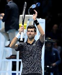 November 14, 2018 - Londres, Angleterre - Serbia's Novak Djokovic (SRB) celebrating his winning second  round -robin match of The Nitto ATP Finals 2018 at  The O2 Arena, London (Credit Image: © Panoramic via ZUMA Press)