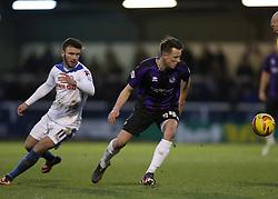 Bristol Rovers' Ollie Clarke turns away from Rochdale's Scot Hogan - Photo mandatory by-line: Matt Bunn/JMP - Tel: Mobile: 07966 386802 29/12/2013 - SPORT - FOOTBALL - Spotland Stadium - Rochdale - Rochdale v Bristol Rovers - Sky Bet League Two