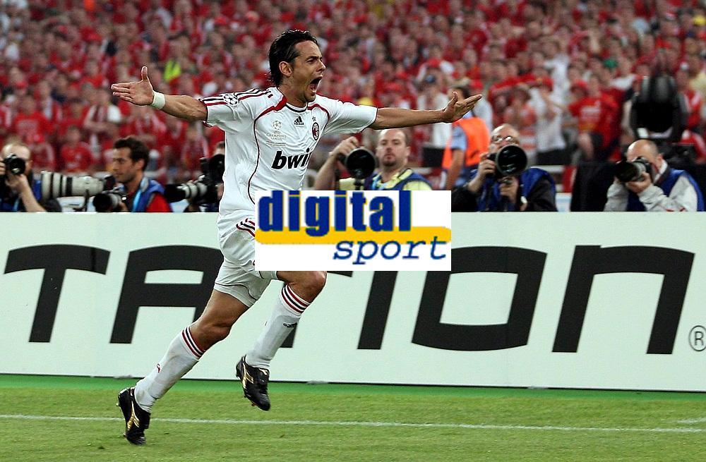 Photo: Paul Thomas.<br /> AC Milan v Liverpool. UEFA Champions League Final. 23/05/2007.<br /> <br /> Filippo Inzaghi of Milano celebrates.