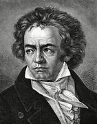 Ludwig van Beethoven  (1770-1827) German composer, a bridge between Classical and Romantic styles. Wood engraving