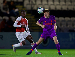 LONDON, ENGLAND - Friday, August 17, 2018: Liverpool's George Johnston (right) during the Under-23 FA Premier League 2 Division 1 match between Arsenal FC and Liverpool FC at Meadow Park. (Pic by David Rawcliffe/Propaganda)