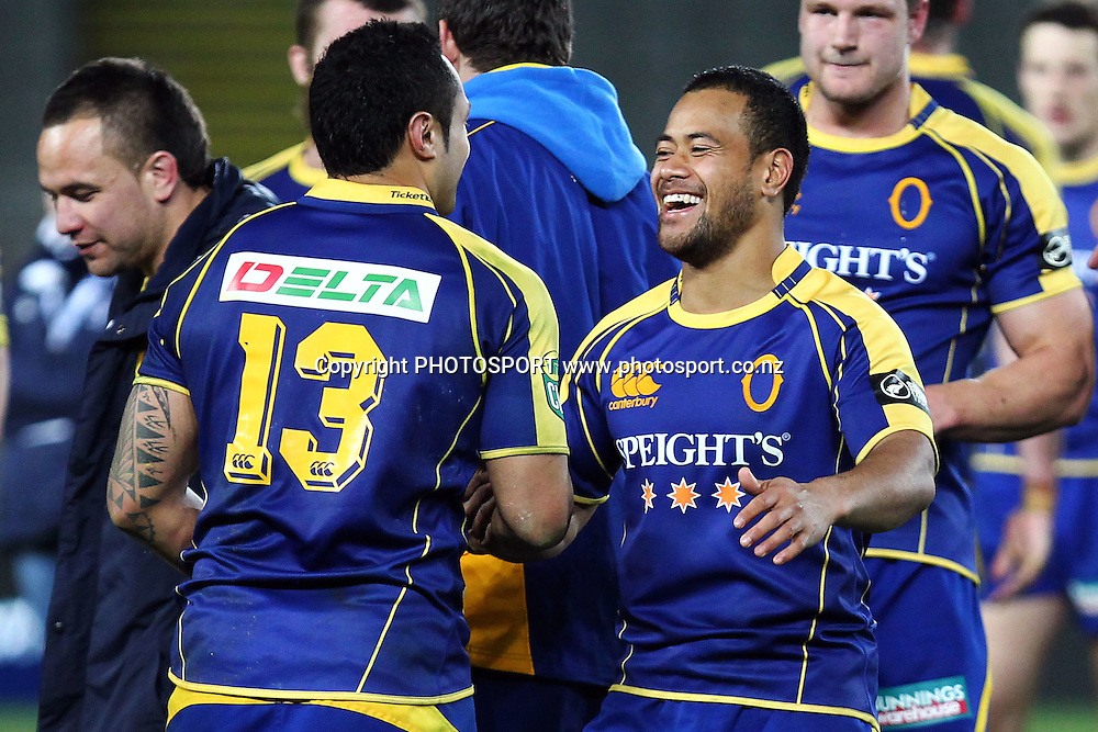 Otago's Buxton Popoali'i celebrates with Ben Atiga for the win. ITM Cup rugby union match, Auckland v Otago at Eden Park, Auckland, New Zealand. Wednesday 20th July 2011. Photo: Anthony Au-Yeung / photosport.co.nz
