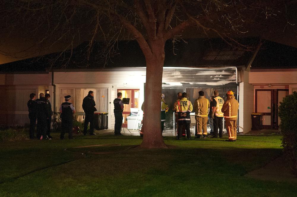 Emergency services at the scene of a fatal fire, Clent Lane, Spreydon, Christchurch ,  New Zealand,  Thursday, July 19, 2012. Credit:  SNPA / David Alexander.