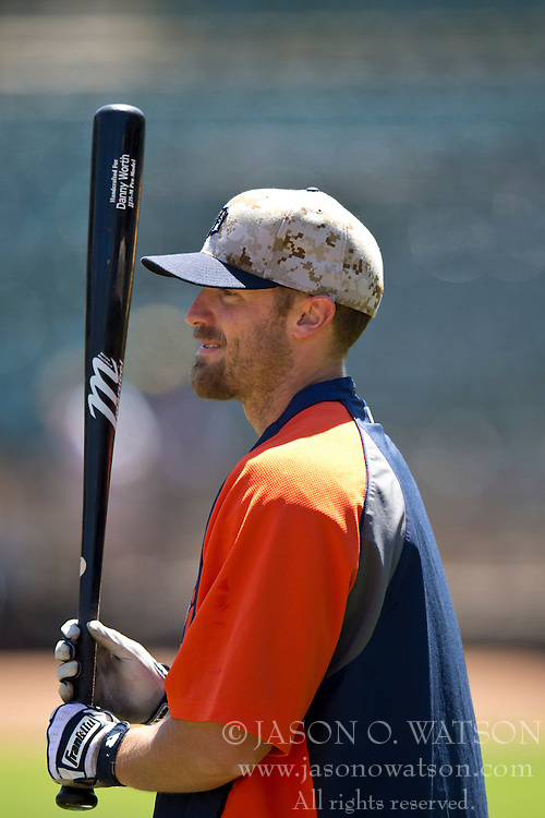 OAKLAND, CA - MAY 26:  Danny Worth #29 of the Detroit Tigers holds a bat during batting practice before the game against the Oakland Athletics at O.co Coliseum on May 26, 2014 in Oakland, California. The Oakland Athletics defeated the Detroit Tigers 10-0.  (Photo by Jason O. Watson/Getty Images) *** Local Caption *** Danny Worth