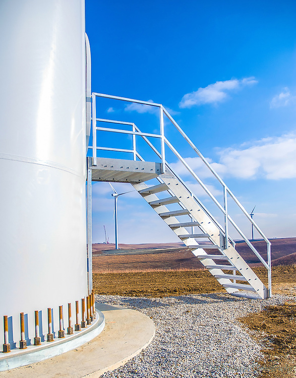image of stairs leading to wind turbine tower