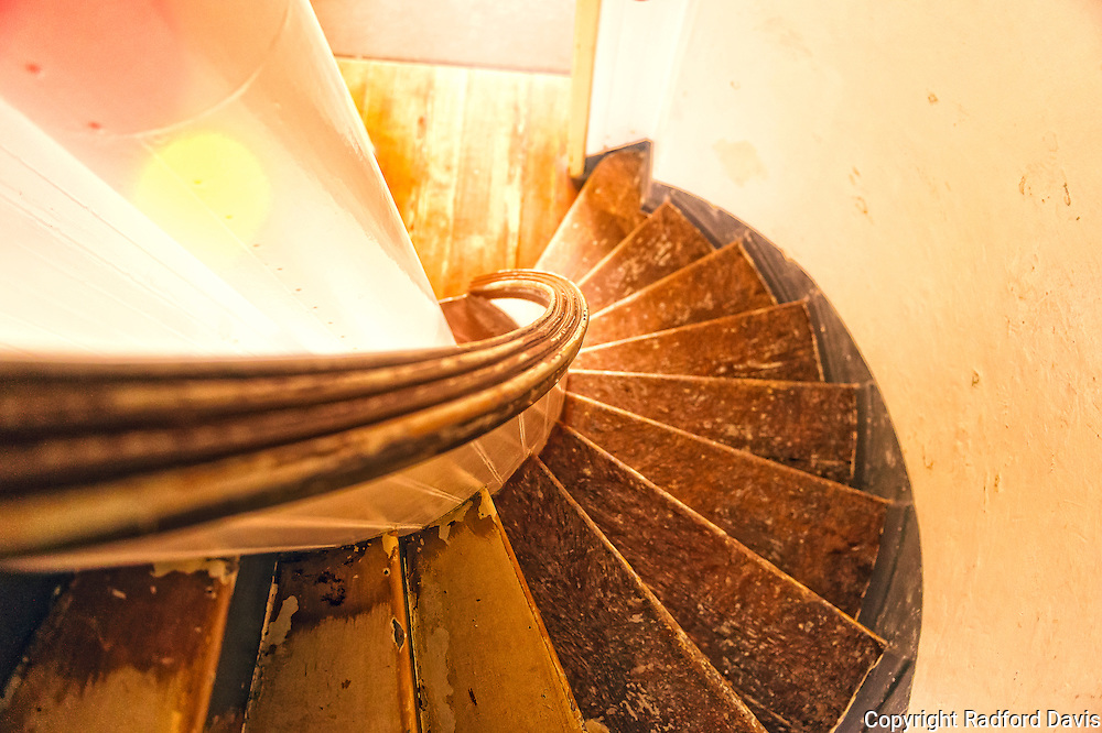 Stairs inside Point Pinos Lighthouse, Monterey, California.