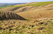 Dry valleys chalk scarp slope Roundway Down, North Wessex Downs, Wiltshire, England, UK