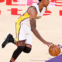 06 November 2016: Los Angeles Lakers guard Nick Young (0) brings the ball up court during the LA Lakers 119-108 victory over the Phoenix Suns, at the Staples Center, Los Angeles, California, USA.