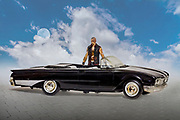 Composite photo of a model 1960 Ford convertible, action figure, with moon in the clouds