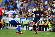 Max Lowe (25) of Derby County goes up against Sone Aluko (14) of Reading during the EFL Sky Bet Championship match between Reading and Derby County at the Madejski Stadium, Reading, England on 3 August 2018. Picture by Graham Hunt.